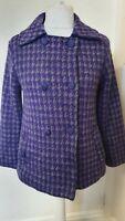 Castle Of Ireland Wool Blend Abstract Purple Coat Jacket Size 12