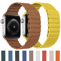 Magnetic Leather Loop Wrist Band Strap For Apple Watch Series 6 5 4 3 21 38-44mm