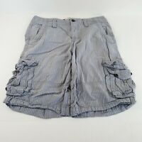 Mossimo Supply Company Men's Gray Striped Cargo Utility Shorts Size 30