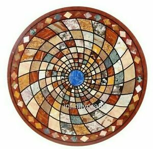36 Inches Round Shape Dining Table Top Geometrical Pattern Inlaid Office Table