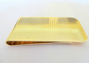 Men's Stainless Steel Gold Plated Money Clip with Laser Cut Square Design