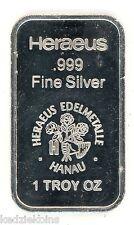 Heraeus Edelmetalle Hanau .999 Silver Art Bar Medal ingot - 1 oz Troy - KL363