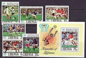 Liberia Scott # 807-12 & C220 MNH Footbal Soccer Sports