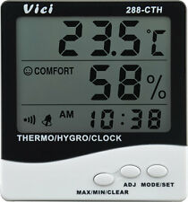Digital 3 in 1 Thermometer Hygrometer Clock Alarm Accurate Thermo-Hygro meter
