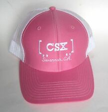 CSX Savannah Ga Railroad Transportation Promo Pink White Adult Baseball Cap