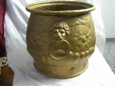 Large Antique Metal Planter Jardiniere sailing Ships Lion Mask Handles Plant pot