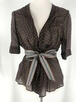 BCBG MAXAZRIA Brown Silk And Cotton Brown Polka Dot Wrap Blouse Top Size Medium