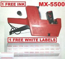Mx-5500 8 Digits Red Price Tag Gun + 5000 White with Red lines label +1 Ink