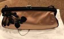 Prada Pink Satin Evening Bag W/ Beaded Flower And Suede Trim Handle Strap