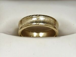 VINTAGE Estate 1930s 14K Yellow Gold BERNARD SORIN Etched Band/Ring Sz 9 (6.22g)