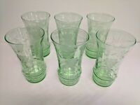Set Of 6 Green  Depression  water/ice tea Glasses With Etched Grape Pattern
