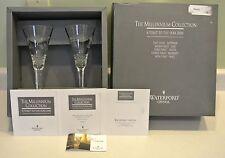 Pair Waterford Millennium Peace Toasting Flutes IRELAND Box, Certif 104972 set 2