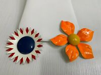 2 Vintage Brooches Pins Large Flowers Red White Blue Orange Retro Mid Century