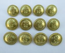 "12x British Made:""ROYAL AUSTRALIAN NAVY BRASS BUTTONS"" (Medium, 19mm, WW2 Era)"