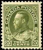 Canada #119 mint F-VF OG H 1925 King George V 20c olive green Admiral CV$110.00