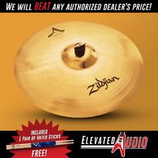 "Zildjian A Custom 20"" Crash Cymbal + FREE Vater Hickory Drum Sticks!"