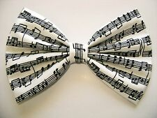 NEW FABRIC HAIR BOW W/ Alligator Clip * Music Notes * Handmade* FREE SHIPPING **