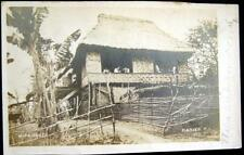 Philippines~1900's Manila ~ Nipa House ~ Thatched Roof Hut ~ Real Photo Pc Rppc