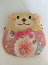 Japanese Chirimen Pouch Bear Beige/Pink Chrysanthemum Pink Ribbon w/Bell NEW F/S