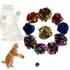 12Pcs Mylar Cats Pet Toys Balls Crinkle Sound Shiny Ring Paper Kitten Play Balls