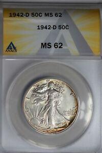 1942-D  .50   ANACS  MS 62  Walking Liberty, Half Dollar, Lady Liberty Half