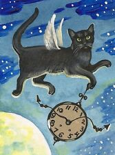 1.5x2 DOLLHOUSE MINIATURE PRINT OF PAINTING RYTA 1:12 SCALE MOON BLACK CAT ART