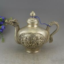 China Miao Silver Dragon Head Eight Immortals God Statue Wine Tea Pot Flagon