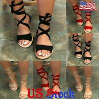 Lace Up Sandals Women's Casual Comfort  Slippers Ladies Flat Heel Summer Shoes