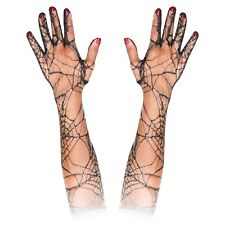 Long Elbow Length Lace Halloween Morticia Witch Costume Gloves Fancy Dress Black