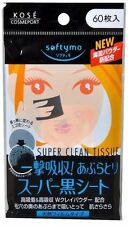 NEW Kose Softymo Super Oil Remover Clean Tissue 60 Sheets Black