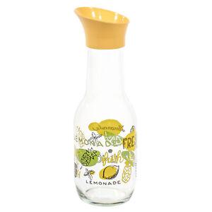 33 Oz Lemonade Clear Glass Carafe with Lemon Fruit Design & Twist On Yellow Lid