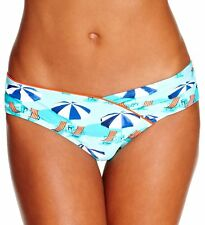 Hobie Junior's Beach Umbrella Printed Blue Bikini Bottoms Large NWT