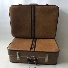 2X 70's Vintage Foxcroft Antler Suitcases Case Retro Stripe Tan Brown Expanding