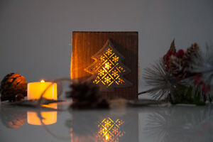 Xmas Wooden Lantern With Glass Voltive Candle Holder Christmas Table Decor