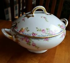 JEAN POUYAT LIMOGES LARGE SOUP TUREEN BOWL PINK ROSES BLUE FLORAL BORDER JPL