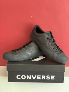 🆕Converse One Star Ox Leather Black Mono Lace Up Trainers Size U.K. 8 New Boxed