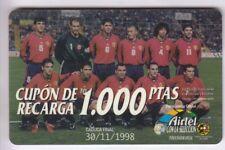 Europe telecarte/phonecard... spain 1.000p airtel 11/98+n ° football soccer