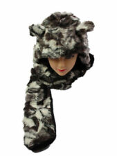 New Animal Trapper Soft Long Bear Faux Fur Winter Hat Scarf Gloves