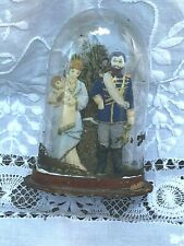 Antique Wax Soldier Mother & Child Figure Glass Dome Victorian