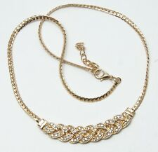Women's 18 Carat Gold Plated Clear Crystal Necklace Jewellery