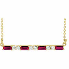 """Chatham® Created Ruby Gems & 1/5 ctw Diamonds Bar 16-18"""" Necklace 14K Solid Gold"""