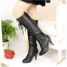 Womens Pu Leather Lace Up High Heel Punk Gothic Combat Knee High Boots Shoes SZ