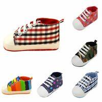 Newborn Baby Boy Girl Canvas Crib Shoes Prewalker Soft Sole Walk Sneaker 0-18M