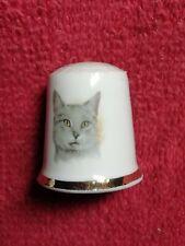 Ancien Dé À Coudre Porcelaine Limoges Chat Collection Couture
