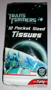 TRANSFORMERS - *New* Dark Of The Moon Novelty 1 Pack Of 10 Pocket Sized Tissues