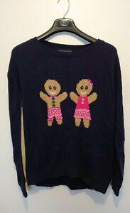 M&s Ladies Gingerbread Man Woman Christmas Jumper Size Medium Xmas novelty