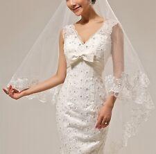 Schleier Edel Elegant Brautschleier Hochzeit Spitze 2-lagig Weiß Ivory mit Kamm