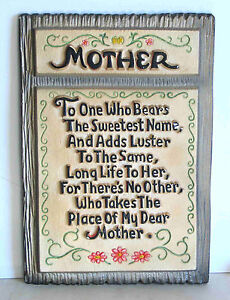 "Chalkware Wall Plaque Mother Verse Vintage 6.25x5.75"" FREE SH"