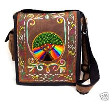 Tree of Life Purse Embroidered Rainbow Heart Shoulder Bag Brown Hippie Boho New