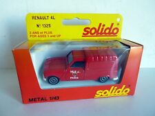 SOLIDO 1325 RENAULT 4L POMPIERS VILLE DE PARIS 1/43 TBE NM + BOX  MADE IN FRANCE